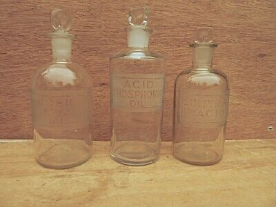 £36.99 • Buy 3 Vintage Small Clear Round Labelled Chemist Bottles