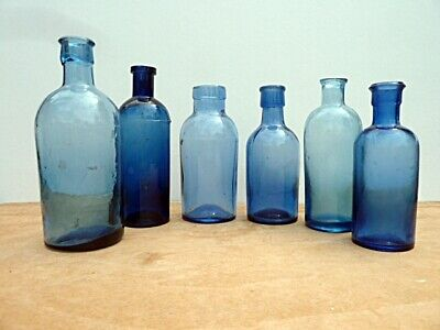 £17.99 • Buy Group Of 6 Vintage Small Round Mid-blue Glass Chemist Bottles