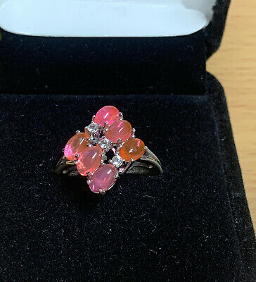 £12.99 • Buy 925 Silver Bright Pink Faux Opal Statement Ring Size Q