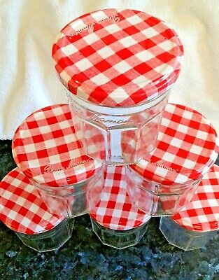 £4.95 • Buy 6 Bonne Maman Jam Jars With Red Gingham Patterned Lids......dishwasher Clean.