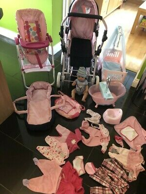 £45 • Buy Baby Annabell And Baby Born Bundle, Bath Buggy Cot Doll Highchair Clothes Etc
