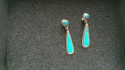 £22 • Buy Vintage Zuni Native American Silver And Turquoise Stud Drop Earrings