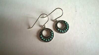 £20 • Buy Vintage Zuni Native American Navajo Silver And Turquoise Petite Point Earrings