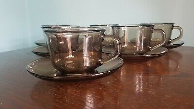 £8 • Buy 6 X Arcoroc France Smoked / Brown Vintage Brown Glass Teacups And Saucers