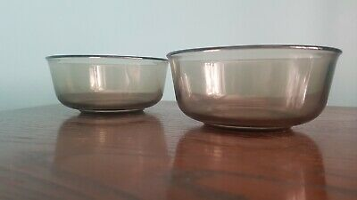 £3 • Buy Pair Of Vintage Arcoroc Smoked Glass Bowls