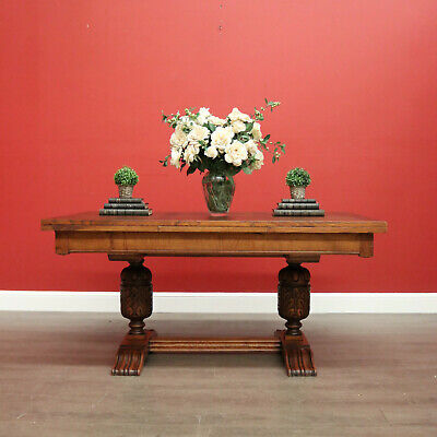 AU1895 • Buy Antique French Dining Table, Antique Oak Twin Pedestal 2 Draw Leaf Kitchen Table