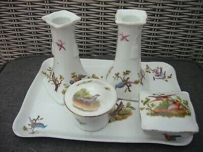£18 • Buy Antique Vintage China Ceramic Dressing Table Set Tray Pots Candlestick Holders