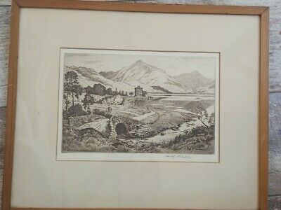 £10 • Buy Worcester Cathedral Original Etching By H M Blake Carrick Castle Loch Goil