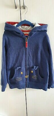 £14 • Buy Mini Boden Cat Hoodie Zip Up Navy With Cat Print Lining & Pockets 128cm Age 7-8