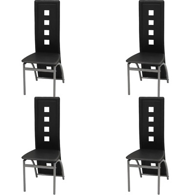 AU193.67 • Buy Dining Chairs 4 Pcs Black Faux Leather