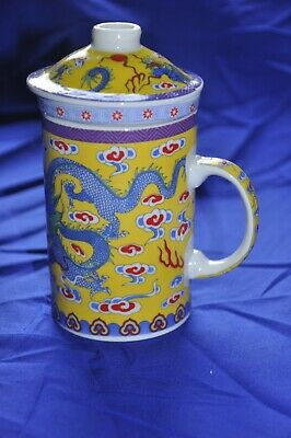 £5.50 • Buy Porcelain Dragon Tea Strainer Mug With Lid - 3 Parts Blue Dragons On Yellow