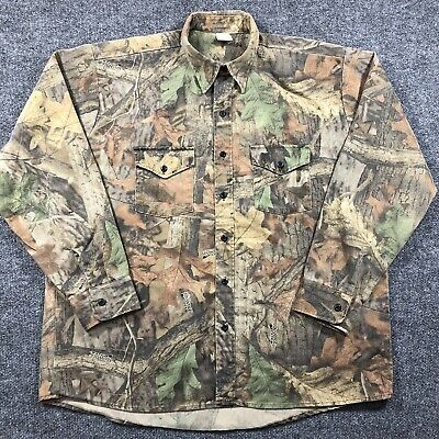 £16.12 • Buy Vintage USA Made Advantage Timber Camo Flannel Mens XL Button Long Sleeve Shirt