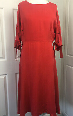 AU66.05 • Buy Mint Velvet Size 16 Red Button Sleeve Midi Dress - Unworn Special Occasion Party