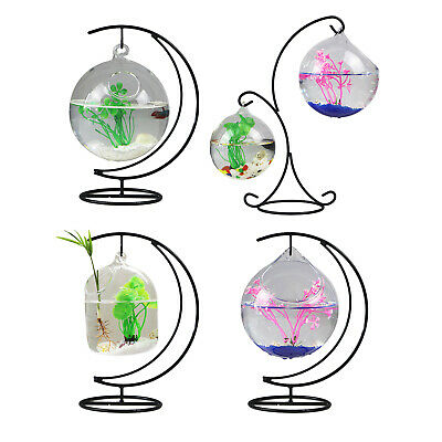 AU20.10 • Buy Desk Table Hanging Clear Glass Bottle Fish Tank Bowl Home Ornaments With Stand