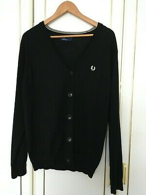 £20 • Buy Black Fred Perry Wool Cardigan Size Large Long Sleeves