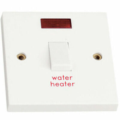 £5.99 • Buy  20amp Double Pole Switch Marked Water Heater With Neon   White