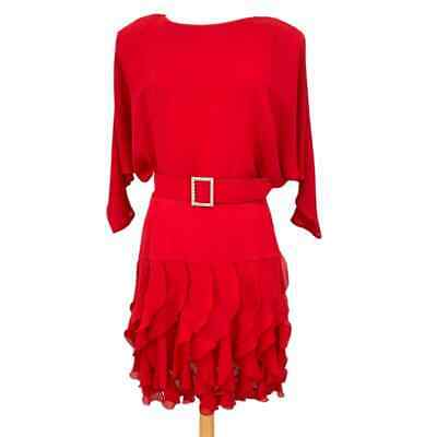 £36.56 • Buy Vintage Positively Ellyn Red Dolman Sleeve Ruffled USA Union Made Dress Size 14