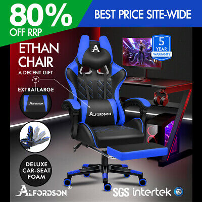 AU159.90 • Buy ALFORDSON Gaming Chair Office Racer Large Lumbar Cushion Footrest Seat Leather
