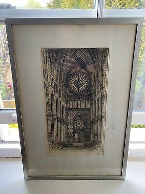 £100 • Buy Rheims Reims Cathedral Print Signed In Pencil Edward W Sherland