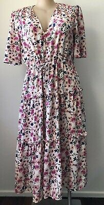 AU29.99 • Buy Feather And Noise Size 16 Floral Jackie Dress V Neck Tie Waist Polyester Ruffles