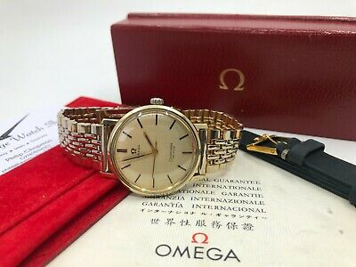 £975 • Buy Vintage Gold Omega Seamaster 135.020 Mens Watch + Box + Beads Of Rice 1965