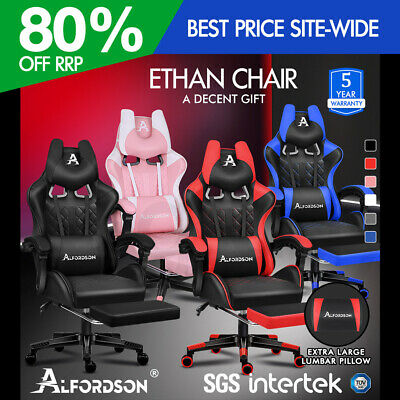AU159.95 • Buy ALFORDSON Gaming Chair Office Executive Racer Larger Lumbar Cushion Seat Leather