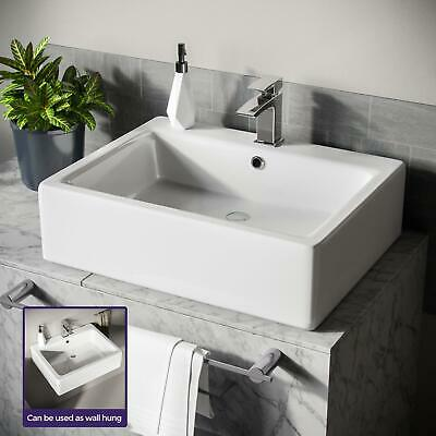 £89.99 • Buy Rectangle 600 Mm Large Counter Top Wall Hung Basin Sink Overflow Bathroom Leven
