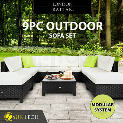 AU1139 • Buy  【EXTRA10%OFF】9pc Outdoor Wicker Furniture Setting Lounge Patio Sofa Set