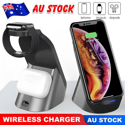 AU32.99 • Buy 15W 3 In1 Wireless Charger Stand QI Fast Charging Dock For Airpods IPhone IWatch