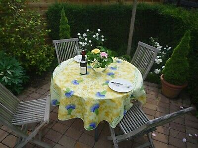 £20.79 • Buy Tablecloth Provence 180 CM Round Yellow Lavender France Non-Iron Hopsack Weave