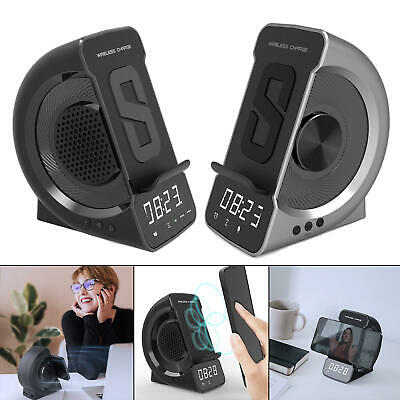 AU47.87 • Buy 3 In 1 Wireless Charging Alarm Clock Charger Bluetooth Speaker For Office