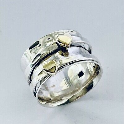 £23.99 • Buy Sterling 925 Silver Spinning Ring Hearts Theme Worry Stress Thumb Size Q