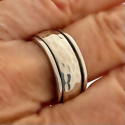 £24.99 • Buy 925 Sterling Silver Textured Beaten Spinning Ring Worry Stress Ring Size Q 1/2
