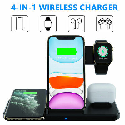 AU32.83 • Buy 4in1 Wireless Charger Qi Fast Charging Dock Stand For Airpods Apple Watch IPhone