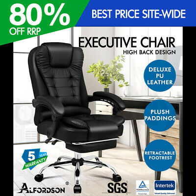 AU174.95 • Buy ALFORDSON Office Chair Gaming Executive Computer Racer Footrest PU Leather Seat