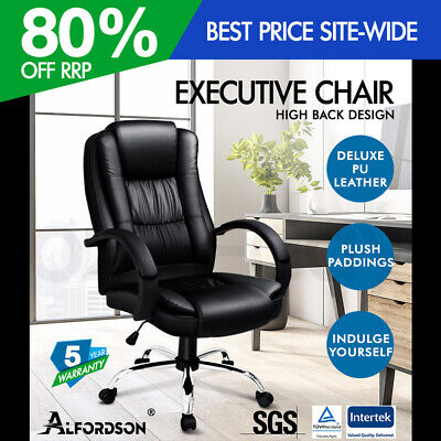 AU154.95 • Buy ALFORDSON Executive Office Chair PU Leather Computer Gaming Racer Black Seat