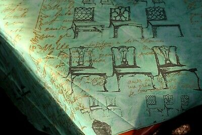 £5.08 • Buy Vintage Tablecloth Large Round 84  Green W French Script & Chairs