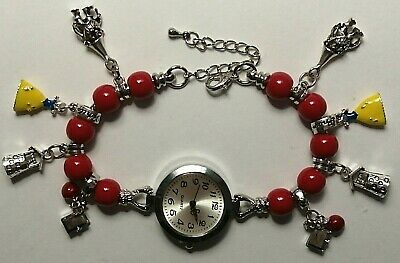 £10.99 • Buy Handmade SNOW WHITE Bracelet Watch With 8 Silver Charms