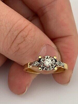 AU44.14 • Buy 14ct Gold Diamond Solitaire Ring, Heavy Art Deco Not 18ct Or 9ct