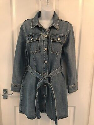 £4 • Buy Zara Denim Dress With Button And Belt Detail Size L ( Would Say Uk 12) Vgc