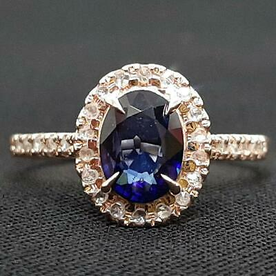 AU158.26 • Buy $4,899 SOLID 14K Rose Gold .81ctw Blue Sapphire & I-SI Diamond Ring Size 5.5