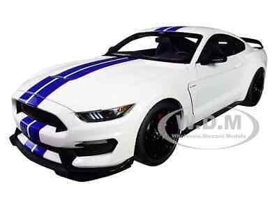 AU255.91 • Buy Ford Mustang Shelby Gt-350r White W/blue Stripes 1/18 Model Car By Autoart 72931
