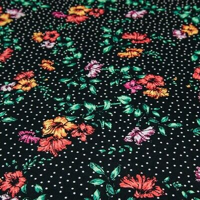 £2.21 • Buy 2.5m Of Black Floral & Polka Dot Printed Stretch Jersey Knit Fabric RRP £9.99