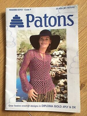 £3.99 • Buy Patons Crochet Pattern Booklet PBN0000-02957 12+Designs Diploma Gold 4ply And DK