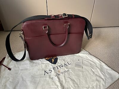 £94 • Buy Aspinal Of London Mount Street Laptop Bag/ Briefcase Burgundy Leather RRP £650