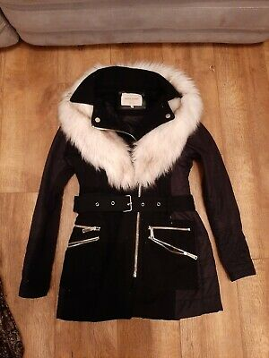 £5 • Buy River Island Coat With Detachale Fur. Size 10. USED Belt Buckle Faulty. See Note