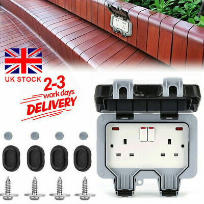£10.99 • Buy Outdoor Double Waterproof Switched Power Socket Wall Electrical Outlets W/ Cover
