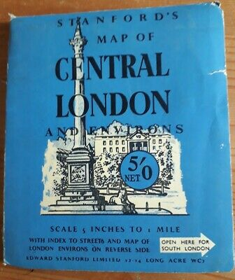 £0.99 • Buy Vintage Stanford's Map Of Central London And Environs (1961) 5 Inches To 1 Mile