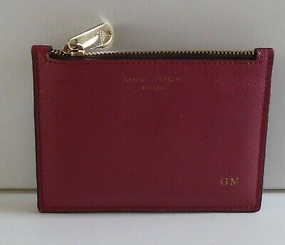 £12.99 • Buy Aspinal Of London Saffiano Leather Card Holder Zip Coin Purse Hot Stamped G.m.