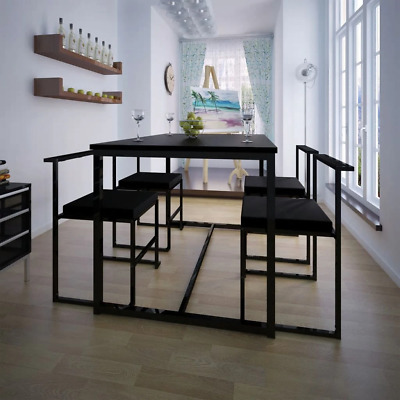 AU369.52 • Buy New Deal 5 Piece Dining Table And Chair Set Black